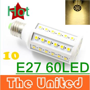 10pcs/lots Free Shipping E27 Warm White 5050 60 SMD LED Light Corn Bulb Lamp 12W 85V-265V Drop Shipping JS0236
