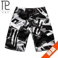 Male fashion print casual pants beach pants shorts beach loose plus size