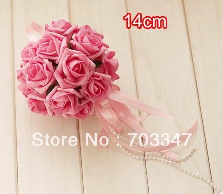 HOT SALE!!! 27pcs X 14cm Artificial Foam Rose Ball In Hot Pink ,Pomander Ball Ribbon W/Pearl Handle *FREE SHIPPING VIA EMS*(China (Mainland))