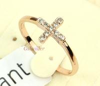 Free Shipping Wholesale 18k Gold Plated Crystal Cross Ring Austrian Crystal  Italina Rigant  Fashion  Birthday Gift