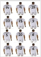13/14 Real Madrid OZIC PERE BENZEMA home white soccer uniform  best quality soccer football kits  (jersey + shorts )