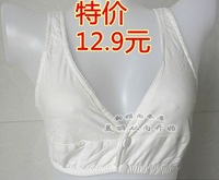 Free shipping Embalmed the elderly bra sleeping underwear plus size button front 100% cotton sports vest mother clothing