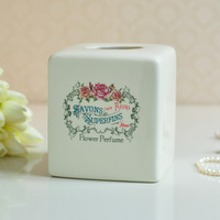 Fashion ivory porcelain tissue box quality brief print vintage home for daily use ceramic