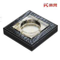Leather crystal ashtray twinset quality Large black crocodile pattern gift  FREE SHIPPING