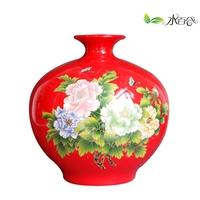 Jingdezhen ceramic home decoration ceramic gift technology accessories red vase