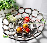 Fashion jingdezhen ceramic fruit plate decoration silver fruit plate cutout fruit bowl