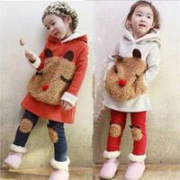 free shipping children kids clothing 2014 autumn winter Bear Sweater Fleece baby Set Leggings 2 sets girls suits