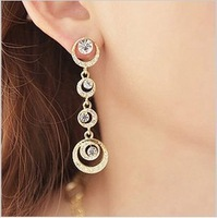 Min.order $15 (mix order)2013 Artificial crystal drop earrings for women,Fashion jewelry,Long gold plated moon drop earring E327