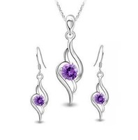 Free shipping hot sell 925 silver jewelry sets drop earrings & 45cm pendant necklaces wholesale 1set/lot