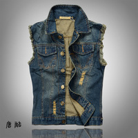 Free Shipping 2013 Spring And Summer New Arrival Korean Slim The Trend Men's Blue Denim  Vest Size:M-L-XL-XXL