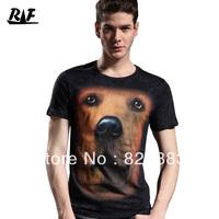 FREE SHIPPING 2013 male 3D stereo print fashion nugget fashion slim male short-sleeve o-neck T-shirt
