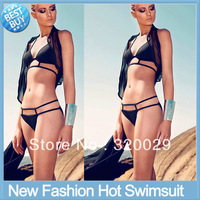 Free shipping 2013 New Swimsuit Fashion Hot Spring solid swimsuit Strappy Sexy Women Bikinis set