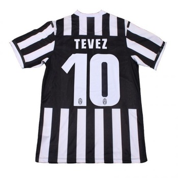 "2014 Top quality Juventus jerseys #10 TEVEZ,Free shipping Juventus football shirts Home jersey with holes and ""T"" shoulder"