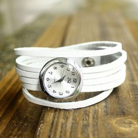 Free shipping 2013 White steel Article 6 wicker Cowhide Leather bracelet  watch unisex watch bangle