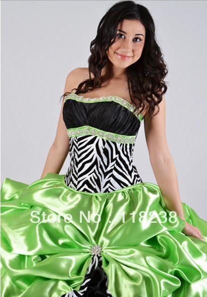 Green black white dress