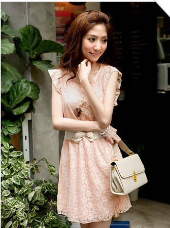 New Korea Fashion Women's Lotus Leaf Short Sleeve Crew Neck Lady Lace Mesh Mini Dress Free Shipping(China (Mainland))