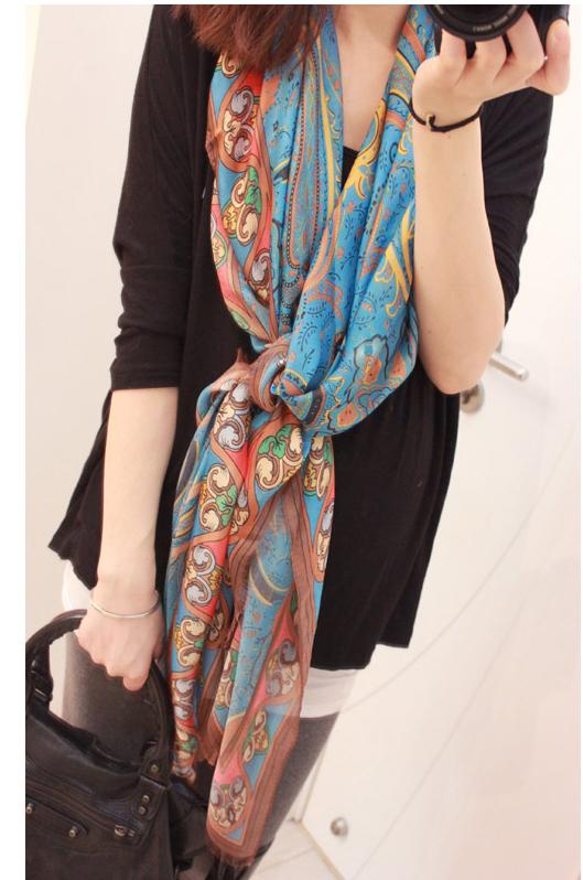 Summer sun -shading seda faux seda bloco colorido pavão cetim lenço de seda capa(China (Mainland))