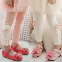 New Arrivels baby girls spring autumn fashion leggings cotton kids legging for girls Mini rose lace children leggings 5PCS