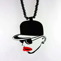 NET108  Good Wood Beaded Necklace with Hat Pendant for Men Hip Hop Jewelry Wholesale