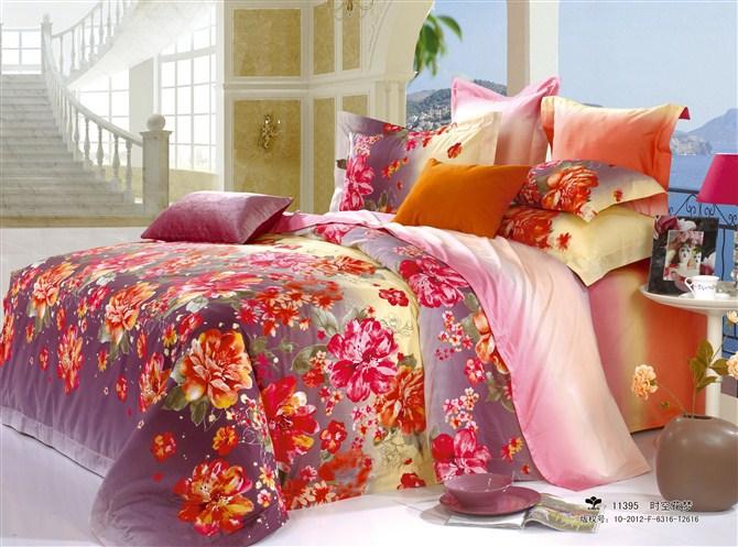 Free shipping grey bedding red orange floral printed - Red and orange comforter sets ...
