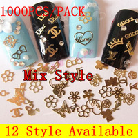 [HJSP-002]1000pcs/pack Mix Style, 12 Style Available Gold Nail Art Metal Sticker Decoration,  Metallic Sticker + Free Shipping