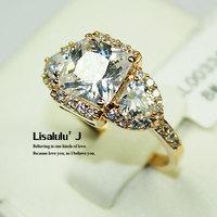 Retail and Wholesale Fashion Engagement Wedding Band 3 Stone Ring 18K GP Crystal R110  Free Shipping Worldwide
