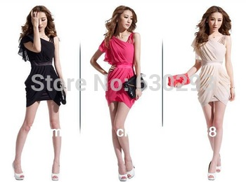 2014 New arrived women's ruched chiffon Formal evening dresses freeshipping