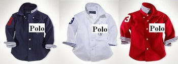 NEW Spring lovely baby boys girls long sleeve polo t shirt kids cotton brand name navy blue red white casual clothing 6pcs/lot