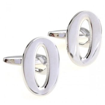 cufflinks sale Classic plating white steel math number 0 cufflinks