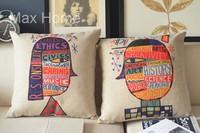 "Free Shipping 2 pcs/lot 18"" Girl & Boy Graffiti Theme Retro Vintage Linen Decorative Pillow Case Pillow Cover Cushion Cover Set"