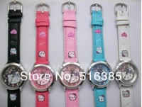 Free & Drop Ship! 10pcs Hello Kitty watch Lady Students Girls Womens Woman Fashion Gift Quartz Wrist Watch, 5 Colors Available