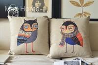 "Free Shipping 2 pcs/lot 18"" Night Owl Couple Retro Vintage Style Linen Decorative Pillow Case Pillow Cover Cushion Cover Set"