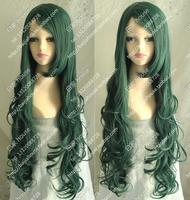 Free shipping high quality 90cm long curly hair Harajuku scroll orange neptuneare 90cm water roll dark green cosplay wig