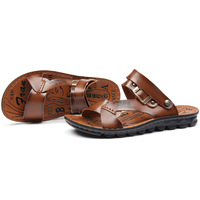 Mens fashion Leather Sandals 2013 New brand man filpers High quality Casual Sandal free shipping