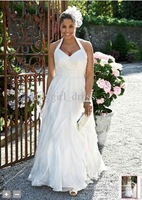 Wholesale - Custom 2012 davidsbridal New plus size Halter Style 9PK3218 Chiffon Wedding Bride Dresses Dress