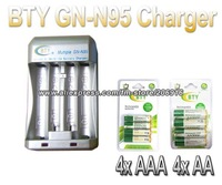 Hi-speed Quick AA AAA BTY Batteries Charger GN-N95+4x AA 3000mAh+4x AAA 1350mAh 1.2V NI-MH Rechargeable Battery BTY