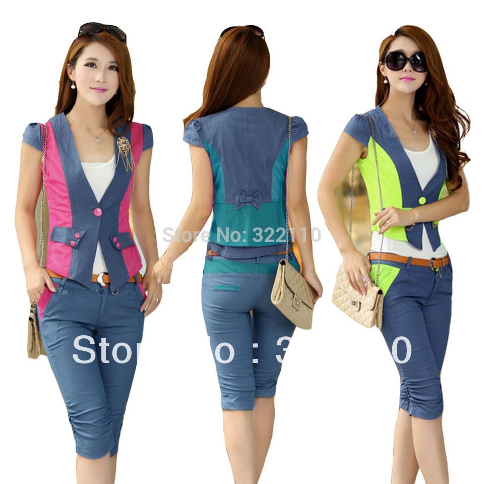 2014 Autumn Women Sport suit Casual clothes 3pcs set belt M-XXL Leisure Outfits Women tacksuit Ladies Sportswear(China (Mainland))