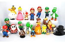 "Super Mario Bros 1set 1""-2.5"" yoshi dinosaur Figure toy 18PCS Super mario yoshi figures PVC retail(China (Mainland))"