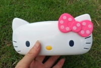Free Shipping pink  Dots Bow Hello Kitty Plastic Glasses Box Glasses Case Lovely Spectacles Case Eyeglasses Case Retail