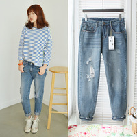 hot sale free shipping Retail summer sexy  fashion 2013 spring and summer loose boyfriend 100% cotton hole jeans female 1652