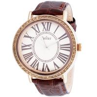 Special  Women Rhinestone Watches Luxury JULIUS Brand Big Dial Roman Vintage Ladies Dress Watch Crocodile Genuine Leather Strap