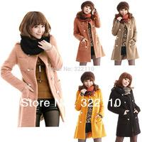 2013 Autumn/Winter Women Parka Jacet Fur coat Wool Outerwear Greatcoat Windbreak High quality Hot sell S-XL MOQ 1pcs