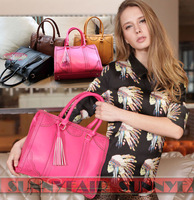 Free Shipping 2014 Women's New Fashion High Quality Handbag Shoulder Bag With Tesset Black/Rose/Coffee/Khaki