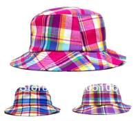Girl's Bucket Caps Summer Cap Children's Canvas Grid Caps For Kids Hats Baby Cap Fashion Headgear Pink Purple Blue Grid To Mix