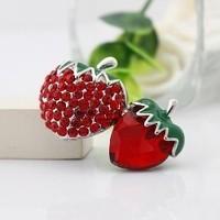 Accessories brief fashion red full rhinestone fruit strawberry brooch women's corsage wedding gift