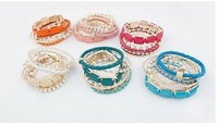 BS003 Mix Colors Multi Strands Bracelet Bangles for Women Korean Lovely Jewelry Wholesale