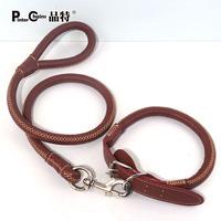 Cowhide dog rope chain PU cowhide rope traction collar set dog zhuaizhu satsuma