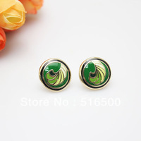 Free Shipping! Feather Series Rose Gold Plated Enamel Jewelry Earring, 1 pair/pack