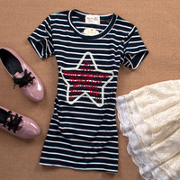 2 color 2013 Summer Womens Striped Star O-Neck T shirt Women's Cotton Tee Shirts Tops Clothing for Women Ladies Free Shipping