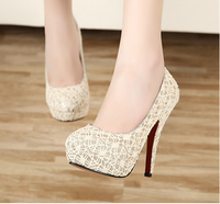 2013 spring reticularis black beige lace thin heels shallow mouth platform high-heeled shoes hot-selling